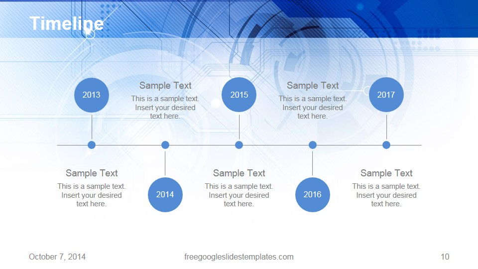 free google slides templates timeline blue technology - free, Powerpoint templates