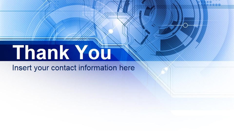 thank you slide design blue technology presentation - free google, Powerpoint templates