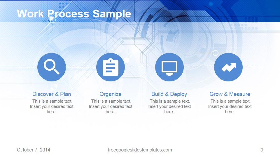 work process four steps blue technology template - free google, Powerpoint templates