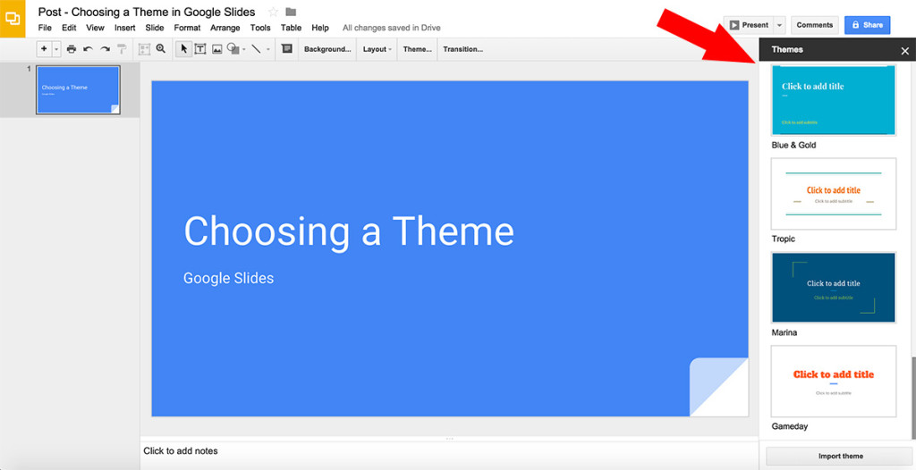Choose a Theme in Google Slides