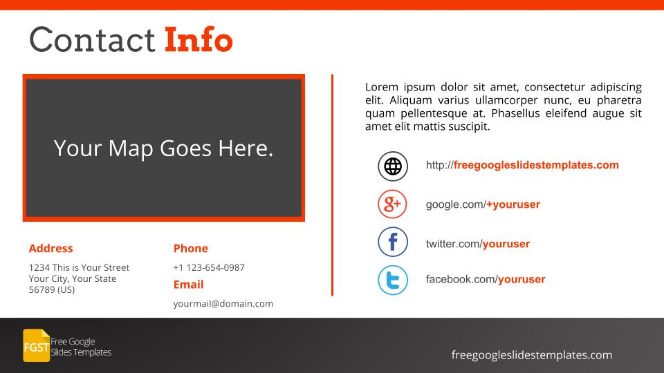 Flat Orange Contact Us Slides  Contact Info Template