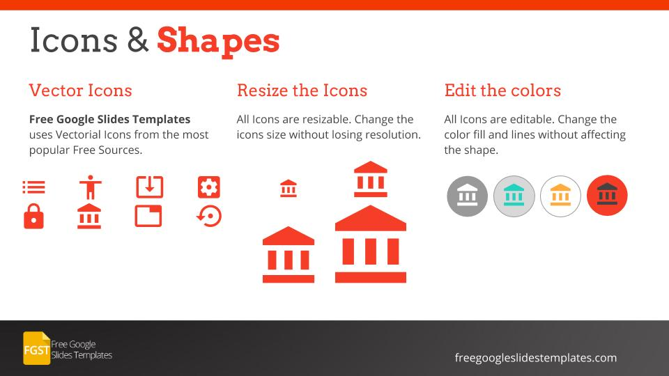 icons and shape professional flat corporate template - free google, Powerpoint templates