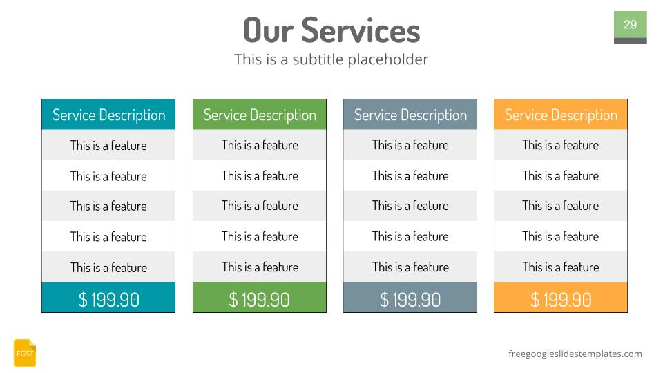 Google slides themes plans and pricing table free google for Table design google slides