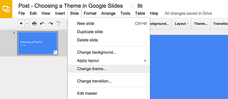 Right Pane - How to Apply Google Slides Themes