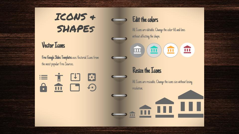 icons and shapes open book free google slides template free google